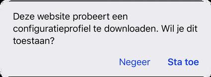 Deze website probeert een configuratieprofiel te downloaden. Wil je dit toestaan?