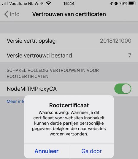 Vertrouwen van certificaten / rootcertificaat