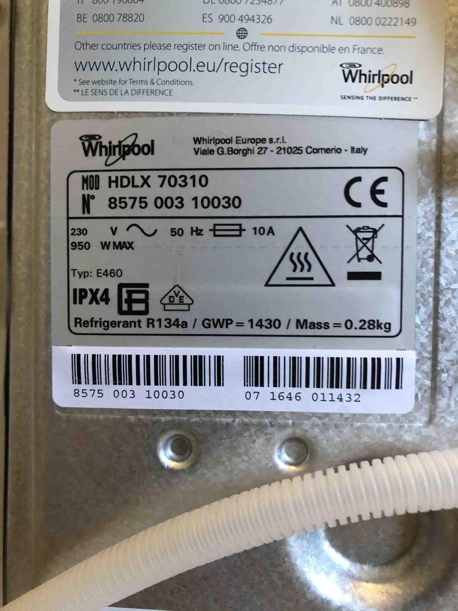Whirpool HDLX 70310 typeplaatje