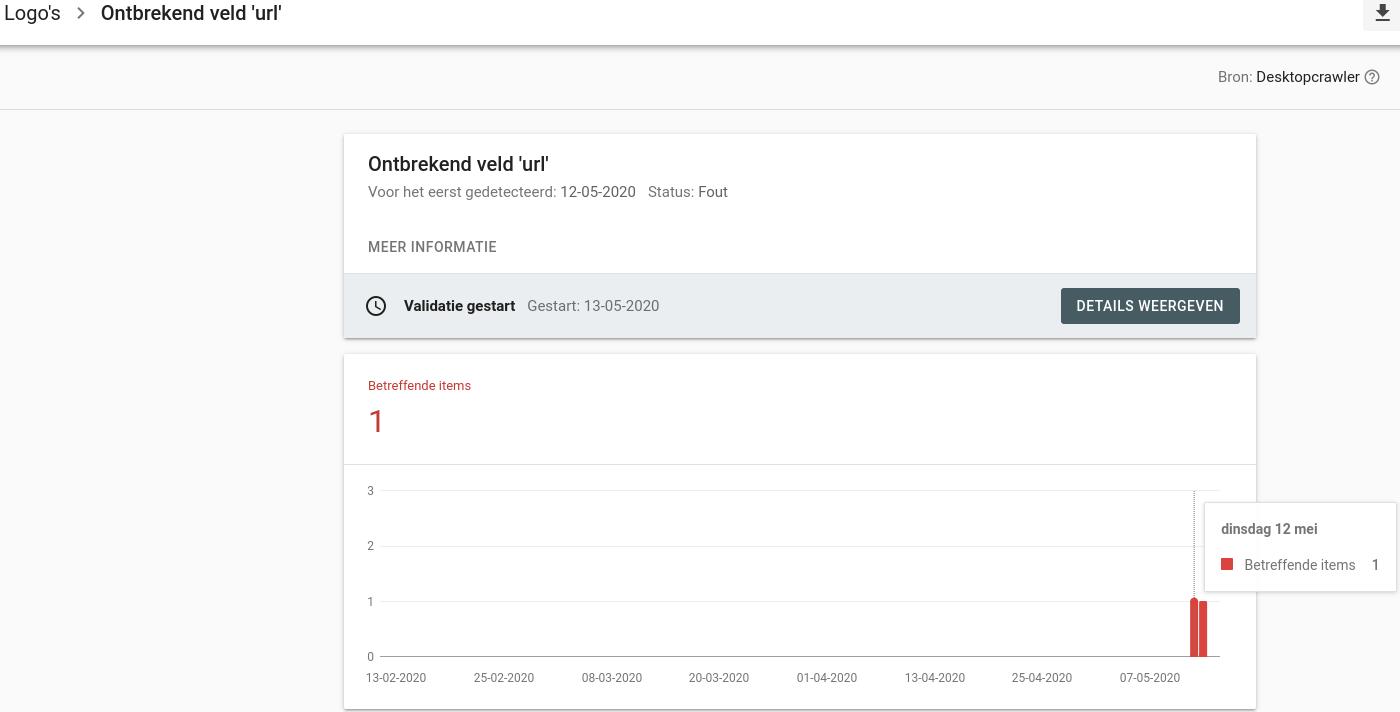 Wijziging ontbrekend veld URL verifiëren