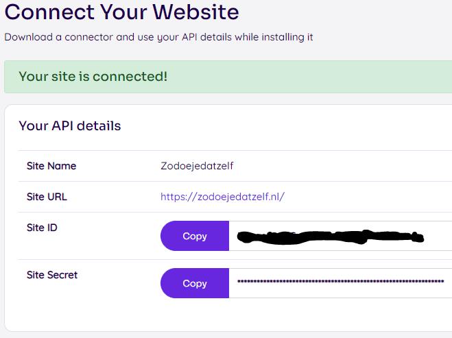 API gegevens NitroPack kopieren naar jouw WordPress website
