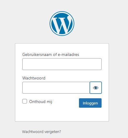 WordPress login scherm
